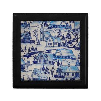 Boîte À Souvenirs Village bleu vintage de vacances de Noël