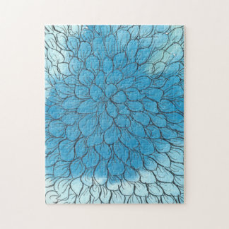 Boîte bleue de puzzle de photo du chrysanthème