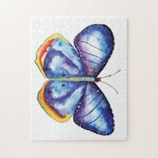 Boîte-cadeau bleue de puzzle de photo d'aquarelle