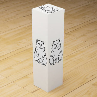 Boite Cadeau Pour Bouteille De Vin Bande dessinée persane de chat de chinchilla