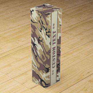 Boite Cadeau Pour Bouteille De Vin Brown aride Camo avec le texte fait sur commande