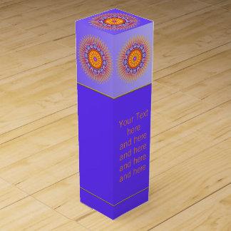 Boite Cadeau Pour Bouteille De Vin Le MANDALA rayonne l'orange violette + votre texte