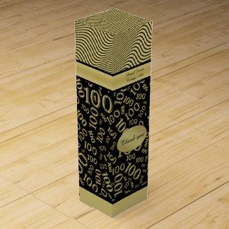 Boite Cadeau Pour Bouteille De Vin Personnalisez : 100th Or d'anniversaire/thème noir