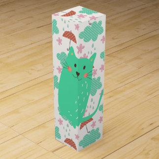 Boite Cadeau Pour Bouteille De Vin Pleuvoir des chats