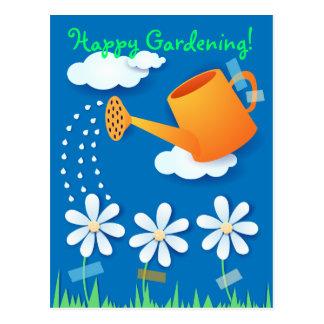 Boîte d'arrosage et fleurs, carte postale