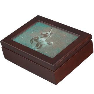 Boîte de souvenir de licorne (acier turquoise) boîte à souvenirs