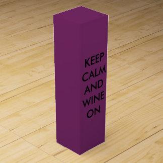 Boite Pour Bouteille De Vin Conservez le calme et le vin dessus