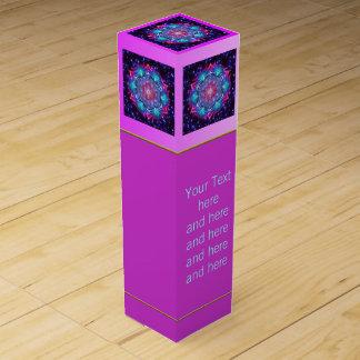 Boite Pour Bouteille De Vin Fleur de la vie - univers du mandala IV + votre