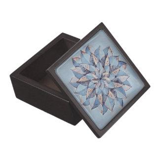 Boîtes À Babioles De Première Qualité Conception florale bleue de boîte-cadeau