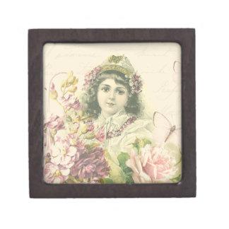 Boîtes À Bijoux De Première Qualité Boîte vintage de fille avec de belles fleurs