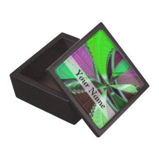 Boîtes À Bijoux De Première Qualité Motif vert et pourpre de fractale