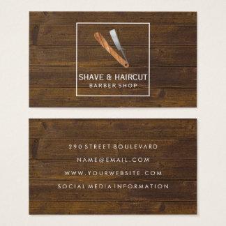 Boîtier blanc en bois rustique de rasoir cartes de visite