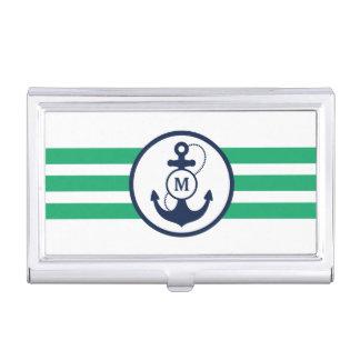 Boîtier Pour Cartes De Visite Ancre nautique verte avec le monogramme