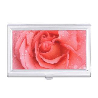 Boîtier Pour Cartes De Visite Baisses roses rouges romantiques de l'eau rose