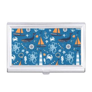 Boîtier Pour Cartes De Visite Bleu profond toutes les choses nautiques