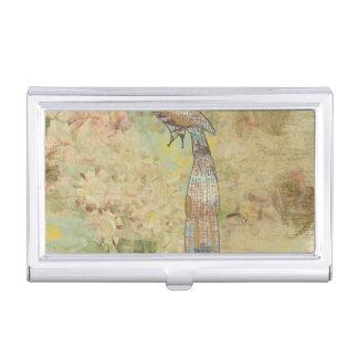 Boîtier Pour Cartes De Visite Collage d'art populaire de paon
