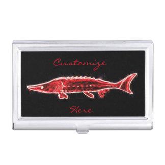 Boîtier Pour Cartes De Visite esturgeon rouge de natation