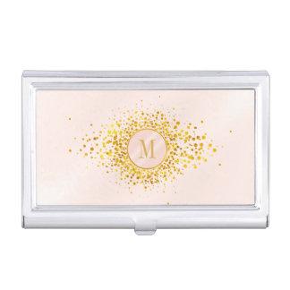 Boîtier Pour Cartes De Visite Feuille d'or rose ID445 de monogramme de confettis