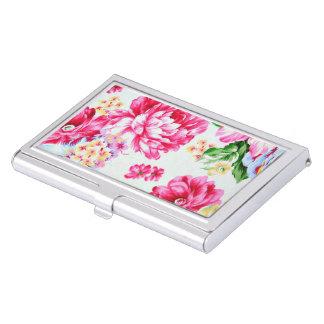 Boîtier Pour Cartes De Visite Fleurs roses chics vintages florales