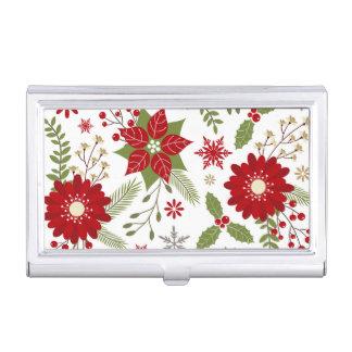 Boîtier Pour Cartes De Visite fleurs rustiques modernes de Noël