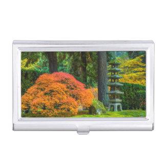 Boîtier Pour Cartes De Visite Jardins japonais en automne à Portland, Orégon