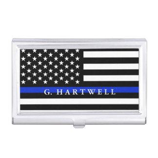Boîtier Pour Cartes De Visite La police a dénommé le nom de coutume de drapeau