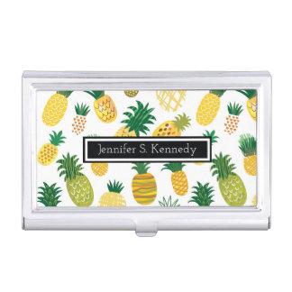 Boîtier Pour Cartes De Visite Le motif à la mode | d'ananas ajoutent votre nom