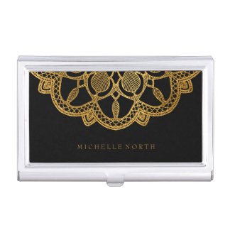 Boîtier Pour Cartes De Visite Mandala élégant ID353 d'or