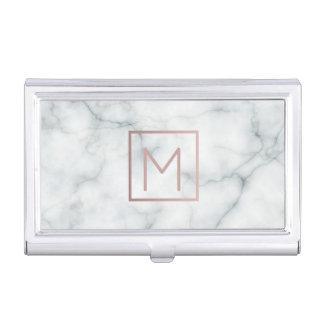 Boîtier Pour Cartes De Visite monogramme rose d'or sur le marbre