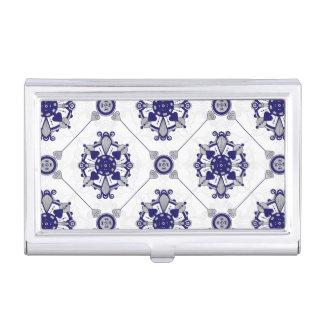 Boîtier Pour Cartes De Visite Motif élégant de médaillon de bleu royal et
