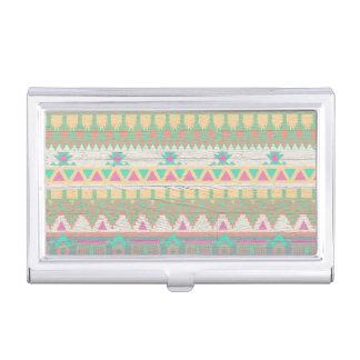 Boîtier Pour Cartes De Visite Motif géométrique en pastel indigène tribal