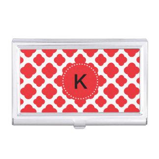 Boîtier Pour Cartes De Visite Motif rouge décoré d'un monogramme de Quatrefoil