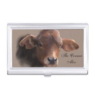 Boîtier Pour Cartes De Visite Portrait roux de vache à Brown
