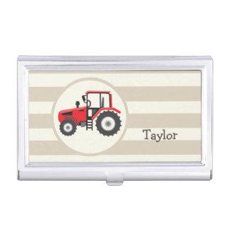 Boîtier Pour Cartes De Visite Tracteur rouge de ferme sur les rayures bronzages