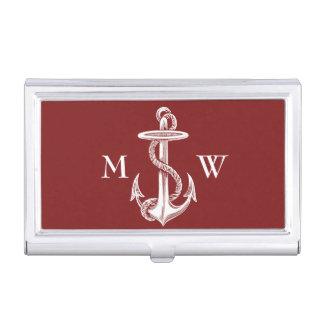Boîtier Pour Cartes De Visite Vin rouge blanc vintage de corde d'ancre nautique