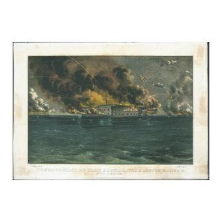 Bombardement van Fort Sumter door Ives Canvas Afdruk