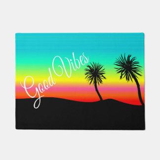Bon tapis de porte de paysage de palmier de