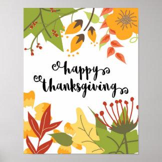 Bon thanksgiving - feuille - affiche poster