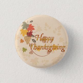 Bon thanksgiving - feuille, raisins et rubans badge rond 2,50 cm