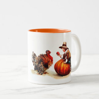 Bon thanksgiving. Tasses vintages de cadeau de