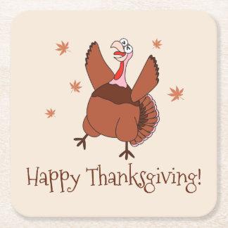 Bon thanksgiving Turquie drôle Dessous-de-verre Carré En Papier