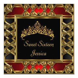 Bonbon diadème rouge noir d'or de 16 anniversaires carton d'invitation  13,33 cm