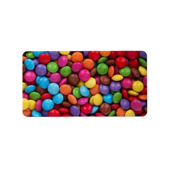 Bonbons au chocolat colorés étiquettes d'adresse