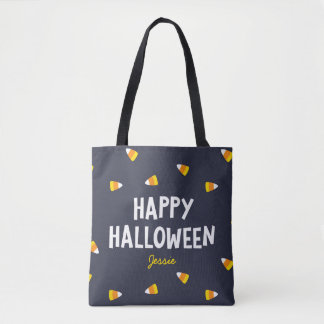 Bonbons au maïs bleu-foncé Halloween heureux Tote Bag