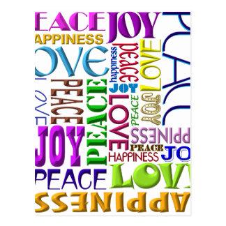 Bonheur d'amour de joie de paix carte postale