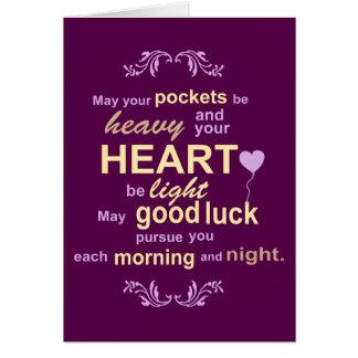 Bonheur irlandais d'abondance et bénédiction de carte de vœux