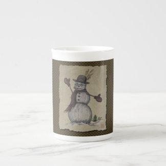 Bonhomme de neige amical heureux mug