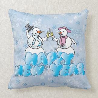 Bonhomme de neige de bonne année coussin
