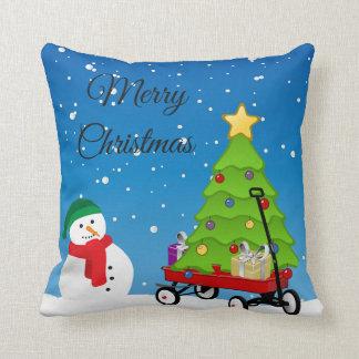 Bonhomme de neige de Noël, arbre et coussin rouge