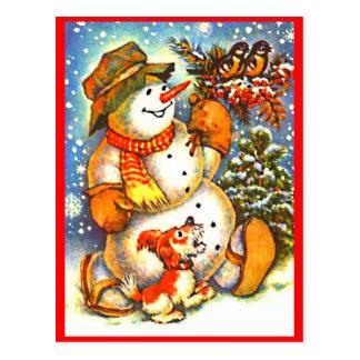 Bonhomme de neige de Noël, carte postale rouge de